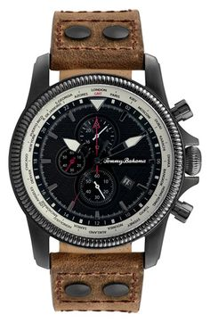 Tommy Bahama 'Pilot' Chronograph Leather Strap Watch, 45mm available at #Nordstrom