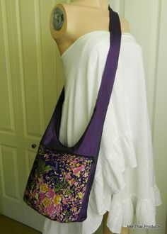 Silk Kimono Bag Purse Hippie Hobo Floral Sling by BenThaiProducts, $17.99