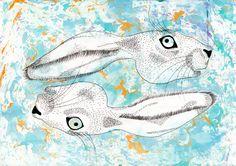 Hare blue, A3, ink, suminagashi