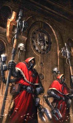 A pair of Skitarii guarding the precious knowledge of the Omnissiah from outsiders Warhammer 40k Rpg, Warhammer Fantasy, Warhammer Armies, Grey Knights, Far Future, Cgi, The Grim, Space Marine, Sci Fi Fantasy