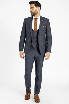 Click here to discover our collection of Men's 3 Piece Suits. Browse our vintage inspired designs in a variety of prints, colours & materials. Shop today! Black Three Piece Suit, Black And Grey Suit, Classic Blue Suit, Classic Blues, Classic White Shirt, Mens 3 Piece Suits, Double Breasted Waistcoat, Plain White Shirt, Checked Suit