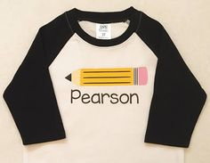 Celebrate back to school with a personalized children's pencil short sleeve or raglan tee! This graphic t-shirt with your little one's name makes a great way to mark the beginning of a new year in Preschool, Kindergarten, or elementary school (1st, 2nd, 3rd, 4th, or 5th grade). This kid's shirt makes the perfect gift for the start of the school year. Check it out here: https://www.etsy.com/heartfeltsy/listing/525647648