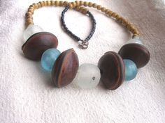 Eco mothers day African Blue and clear recycled by Fianaturals, $45.00