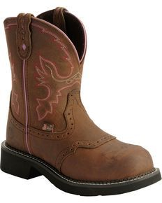 Justin Gypsy Work Boots - Round Steel Toe, Aged Bark