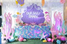 Aaliyah's Quirky Baby Shark Themed Party Baby Girl Birthday Theme, Girls Birthday Party Themes, Birthday Ideas, 3rd Birthday, Shark Party Decorations, Birthday Party Decorations, Baby Shark, Baby Party, Aaliyah