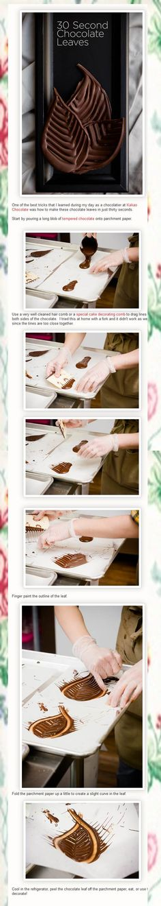 DIY Chocolate Leaves -- this is probably harder than it looks. Candy Decorations, Chocolate Decorations, Food Decoration, Cake Decorating Techniques, Cake Decorating Tips, Cookie Decorating, Chocolate Garnishes, Chocolate Recipes, Chocolate Treats