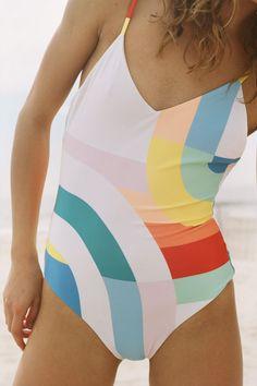 Jazzy pastel striped one-piece bathing suit - 2017  #MaraHoffman