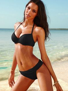 Victoria Secret's Forever Sexy Retro Push Up Triangle Top. The first black bikini I've really wanted in a long time. #vs #bikinis
