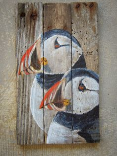 For sale Puffins on Etsy, Driftwood beach house art. These sea birds are hand painted on repurposed lobster trap wood. It still smells of the ocean. Puffin love.