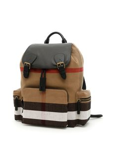 The Large Rucksack In Canvas Check And Leather, Classic Check