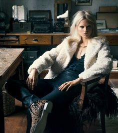fuzzy coat, leather pants & cheetah print boots #style #fashion #editorial