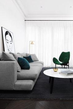 Living Room Prahran Home by Biasol est living Living Room Designs, Living Room Decor, Living Spaces, Living Area, Dining Room, Small Living, Dining Chairs, Home Interior Design, Interior Decorating