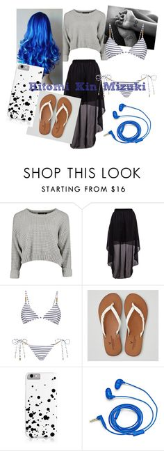 """""""Hitomi Kin Mizuki"""" by zoeytoto ❤ liked on Polyvore featuring beauty, Melissa Odabash, American Eagle Outfitters and FOSSIL"""