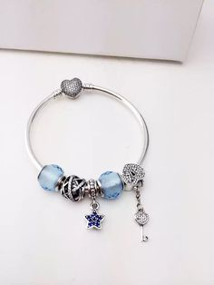 50% OFF!!! $159 Pandora Charm Bracelet Blue Star Key Heart. Hot Sale!!! SKU: CB01036 - PANDORA Bracelet Ideas
