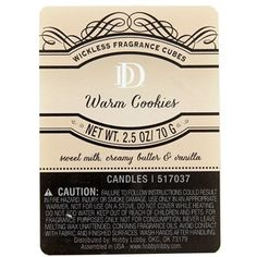Perk up your nose and inspire your senses with delightfully fragrant aromas. Warm CookiesWickless Fragrance Cubes provides an intoxicating, nostalgic medley of sweet milk, creamy butter, and a touch of vanilla that is perfect to enhance your home or office. These pale peach wax melts are designed for use with wax warmers (sold separately).    Details:      Net Weight: 2.5 ounces      Each package includes 6 cubes.