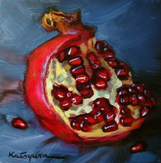 An Original Fine Art Gallery by Daily Paintworks Painting Still Life, Still Life Art, Painting Lessons, Painting & Drawing, Pomegranate Art, Watercolor Fruit, Fruit Painting, Fruit Art, Fine Art Gallery