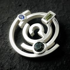 Pendant brooch combo set with sapphires and tanzanite