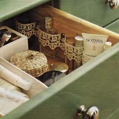 Cute idea !!  Lace tacked to the side of the drawer to contain things... that's the prettiest organizing i ever did see.