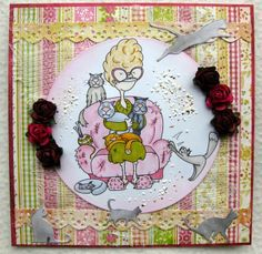 Margreet's scrapcards: Kattenvrouwtje / The Cat Lady