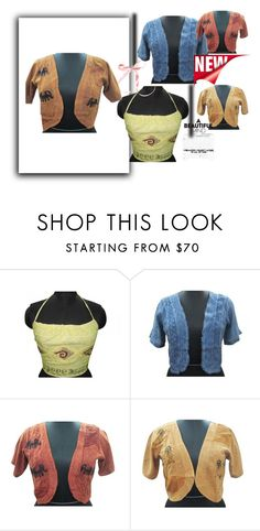 """""""Embroidered Short Sleeve Shrug"""" by era-chandok ❤ liked on Polyvore"""
