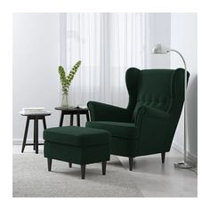 IKEA - STRANDMON, Wing chair, Djuparp dark green, , You can really loosen up and relax in comfort because the high back on this chair provides extra support for your year guarantee. Read about the terms in the guarantee brochure. Strandmon Ikea, Quality Furniture, Furniture Sets, Furniture Nyc, Furniture Websites, Furniture Market, Furniture Removal, Furniture Stores, Living Room Chairs