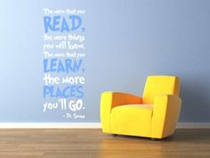 Dr Seuss Vinyl Wall Decal 'The More That You Read'  by InitialYou, $42.95