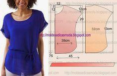 PASSO A PASSO MOLDE BLUSA Corteum retângulo de tecido com a altura e largura que pretende para as costas e frentes. Dobrea meio o retângulo. Desenheo d