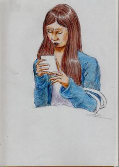 青いカーディガンのお姉さん(通勤電車でスケッチ)This is a woman of sketch wearing a blue cardigan. It drew in a commuter train.