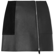 Alexander Wang Leather & Suede Skirt (61,755 PHP) ❤ liked on Polyvore featuring skirts, mini skirts, bottoms, black, black miniskirt, black leather skirt, alexander wang, short black skirt and short skirts