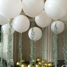 Giant White With Green Tassel Balloons