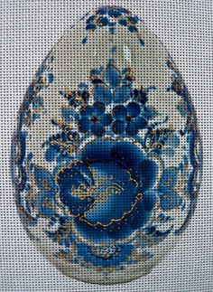 "Needlepoint Canvas ""Easter Blue Gold Flowers Egg """