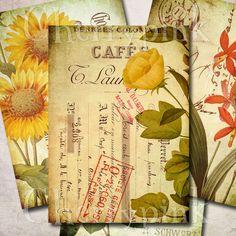 Vintage Flower Digital Collage Sheet, tags, botanical ACEO whimsical ephemeral antique paper postcard hang tags scrapbooking.
