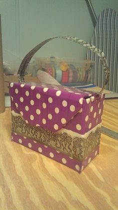 Purple And White Polka Dot Duct Tape Purse
