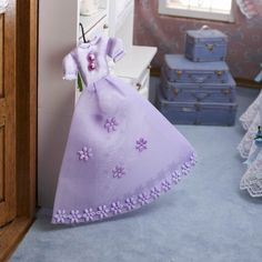 Lavender Miniature Decorative Puffy Satin Flower and Pearl Dress