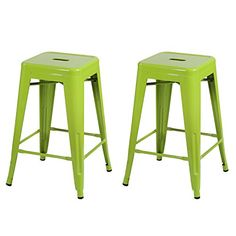Joveco 30 Inches Sheet Metal Frame Tolix Style Industrial Chic Chair Backless Bar Stool - Set of 2 (White) Wholesale Price Available Tall Bar Stools, Counter Height Bar Stools, Bar Counter, Industrial Counter Stools, Industrial Chic, Kitchen Stools, Kitchen Dining, Stackable Stools, Home Bar Furniture