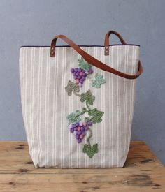Vineyard Tote Linen, Leather and Knitted Crocheted Tote Bag