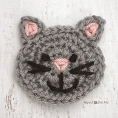 C is for Cat: Crochet Cat Applique @RepeatCrafterMe.com
