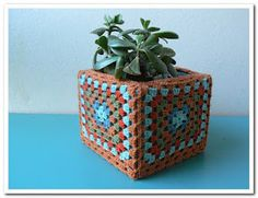 Crochet granny squares plant pot cover