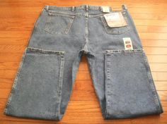 NEW! MENS sz 46x32 WRANGLER rugged wear BLUE DENIM JEANS pants RELAXED FIT, NWT!