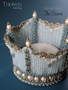 Pattern for this beadwoven tea light holder now available at my shop. Combining CRAW stitch and Herringbone stitch to make this regal piece.
