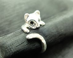 silver cat ring size adjustable from Cute animal jewellery  by DaWanda.com