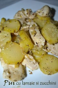 Chicken with lemon and zucchini Dukan Diet Recipes, Cooking Recipes, Healthy Recipes, Healthy Food, Zucchini, Lemon Chicken, Carne, Potato Salad, Recipies