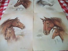 Ruane Manning Horse Lithographs Set of 4 by naturepoet on Etsy, $60.00
