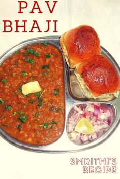 Pav Bhaji is a Maharashtrian fast food dish which consists of vegetable curry served with a loaf of soft bread. This dish was ori. Indian Potato Recipes, Easy Indian Recipes, Curry Recipes, Veggie Recipes, Vegetarian Recipes, Easy Cooking, Cooking Recipes, Bhaji Recipe, Pav Bhaji