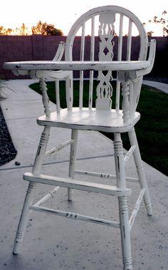 Little Bit of Paint: Refinished Antique High Chair RNS# 57 Antique High Chairs, Wood High Chairs, Old Chairs, Outdoor Chairs, Ikea Chairs, Pink Chairs, Folding Chairs, Dining Chairs, Dining Room