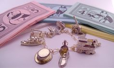 Gold Monopoly Game Piece Token Charm 7 Inch Bracelet by luv4sams