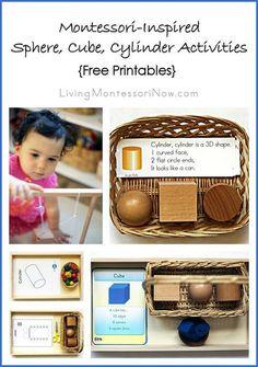 Montessori Monday - Montessori-Inspired Sphere, Cube, Cylinder Activities {Free…