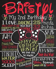 Minnie Mouse Birthday Chalkboard 1st by CustomChalkPosters