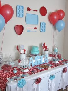 Love the wall decorations at a this baking themed girl birthday party!  See more party ideas at CatchMyParty.com!