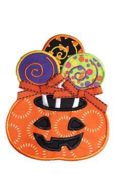 Pumpkin Lollipop Machine Embroidery